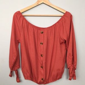 Papermoon Crop Top Button Front 3/4 sleeve NWT XL